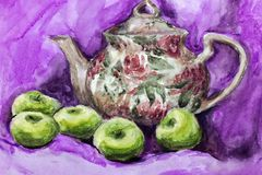 Watercolor brewer with tea and apples, drawing with watercolor. royalty free stock images