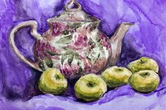 Watercolor brewer with tea and apples, drawing with watercolor. royalty free stock photos