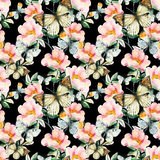 Watercolor briar flowers and butterfly seamless pattern. Dog Rose branches in vintage style. Watercolor briar flowers and butterfly seamless pattern. Pastel Stock Photography