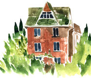 Watercolor brick house Royalty Free Stock Photos