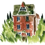 Watercolor brick house Royalty Free Stock Images