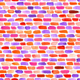 Watercolor bricks. Vector abstract seamless pattern. Royalty Free Stock Photo