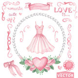 Watercolor bridal shower set.Pink dress,roses Stock Image