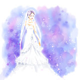 Watercolor, Bride in beautiful wedding dress with bouquet. Elegant young bride with bouquet of flowers in beautiful long wedding dress. Watercolor invitation Royalty Free Stock Image