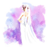 Watercolor, Bride in beautiful wedding dress with bouquet Stock Photography