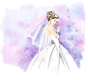 Watercolor, Bride in wedding dress with bouquet Royalty Free Stock Photography