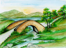 Watercolor Bridge Landscape Stock Images
