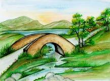 Watercolor Bridge Landscape. Hand painted bridge over a river landscape Stock Images