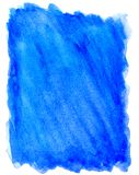 Watercolor bright blue background on white royalty free illustration