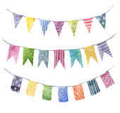 Watercolor bright color flags garlands set with ornament: stripe, polka dot, spiral. Party, kids party or wedding decor. Elements isolated on white background Stock Photos
