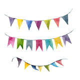Watercolor bright color flags garlands set. Party, kids party or wedding decor elements isolated on white background. For design, prints or background Stock Photography