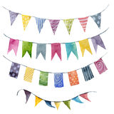 Watercolor bright color flags garlands set. Party, kids party or wedding decor elements isolated on white background Royalty Free Stock Image