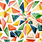 Watercolor Bright Colorful Triangles Abstract Seamless Texture Royalty Free Stock Image