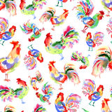 Watercolor bright festive roosters. New year symbol. Beautiful s Royalty Free Stock Photos
