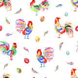 Watercolor bright festive roosters. New year symbol. Beautiful s Royalty Free Stock Image