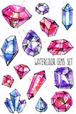 Watercolor bright hand-drawn gems set Stock Photos