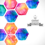 Watercolor bright hexagon over white Royalty Free Stock Image