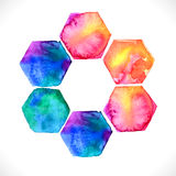 Watercolor bright hexagon over white Royalty Free Stock Images