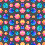 Watercolor bright hexagon Pattern Stock Image