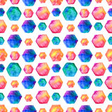Watercolor bright hexagon Pattern Stock Photography