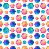 Watercolor bright hexagon Pattern stock illustration