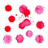 Watercolor bright pink spot blob blot isolated set vector Royalty Free Stock Photography