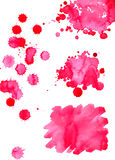 Watercolor bright pink spot texture background isolated set Royalty Free Stock Images