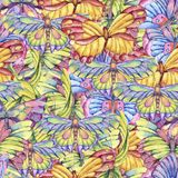 Watercolor seamless pattern of vintage colorful butterflies stock illustration