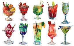 Watercolor set of cocktails and desserts royalty free stock photos