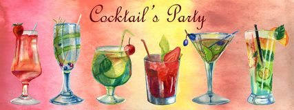 Watercolor summer illustration. Set of cocktails royalty free stock photo