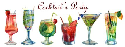 Watercolor summer illustration. Set of summer cocktails stock illustration