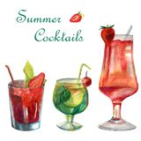 Watercolor summer illustration. Set of cocktails stock image