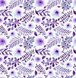 Watercolor Bright Violet Flowers And Leaves Seamless Pattern Stock Image