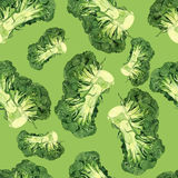 Watercolor broccoli pattern royalty free stock images