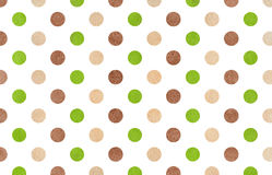 Watercolor brown, green and beige polka dot background. Stock Photos