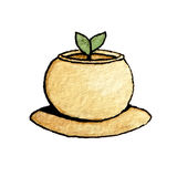 Watercolor brown pot with the sprout Royalty Free Stock Photos