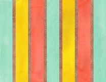 Watercolor brown, salmon, yellow and seafoam striped background. Stock Photo
