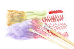 Watercolor and brush Stock Photography