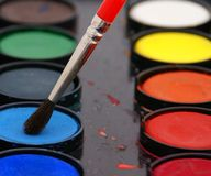 Watercolor with brush Royalty Free Stock Photos