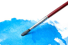 Watercolor Brush and Blue Wash of Color Royalty Free Stock Image