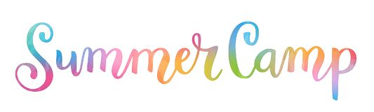 Watercolor brush calligraphy concept word SUMMER CAMP stock illustration