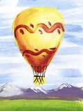 Watercolor brush stroke sketch of vivid yellow hot air balloon against serene landscape of distant mountains, green