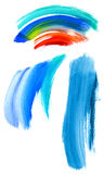 Watercolor brush strokes. Colorful watercolor brush strokes isolated on white. Useful as design elements Royalty Free Stock Image