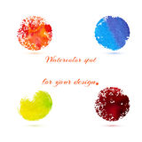 Watercolor brush strokes and circle splashes. Royalty Free Stock Image