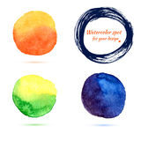Watercolor brush strokes and circle splashes Stock Images
