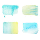 Watercolor brush strokes and drops set, aquarelle simple geometric color patterns.  royalty free stock photos