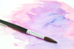 Watercolor Brush and Wet Paint Stock Photography
