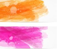 Watercolor brushed banners. Banner horizontal templates with watercolor brushed imitation lines. Vector illustration Stock Image