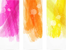 Watercolor brushed lines banners Stock Image
