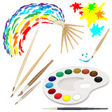 Watercolor brushes Stock Photography